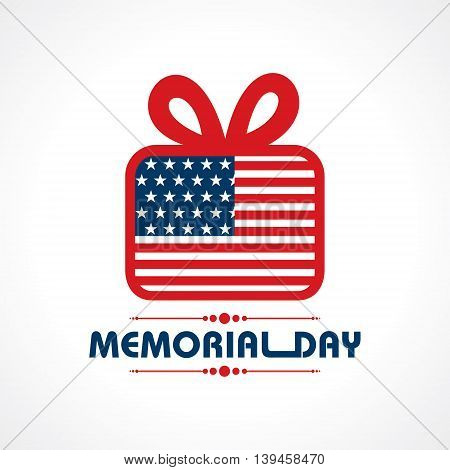 Creative memorial Day Greeting with gift stock vector
