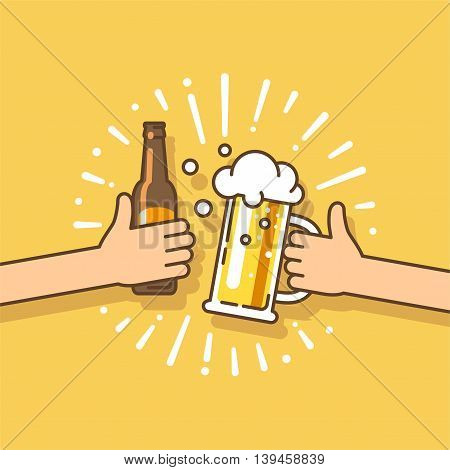 Beer festival. Two hands holding the beer bottle and beer glass. Vector illustration in flat style.