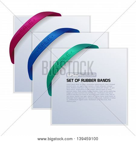 Set of cards with realistic rubber bands of different colors for your design. Vector illustration.