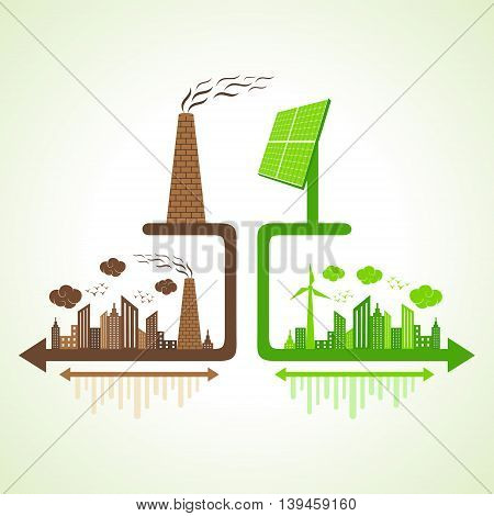 Eco and polluted city concept with solar panel and chimney stock vector