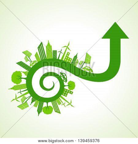Eco city concept with arrow design stock vector