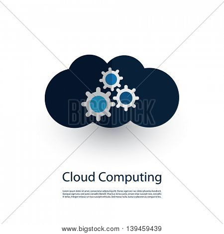 Cloud Computing and Networks Concept, Technology Company Logo Design with Cogwheels Inside