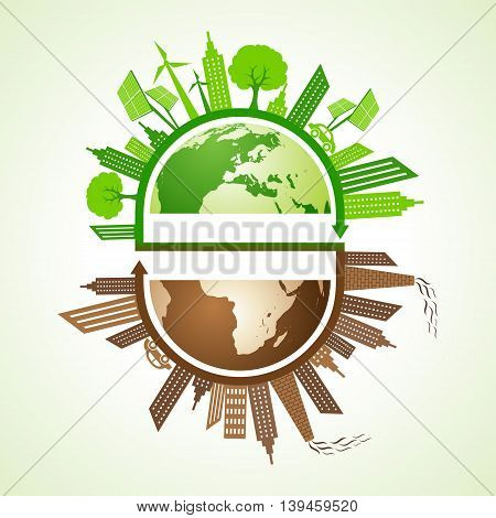 Eco and polluted city concept with earth stock vector