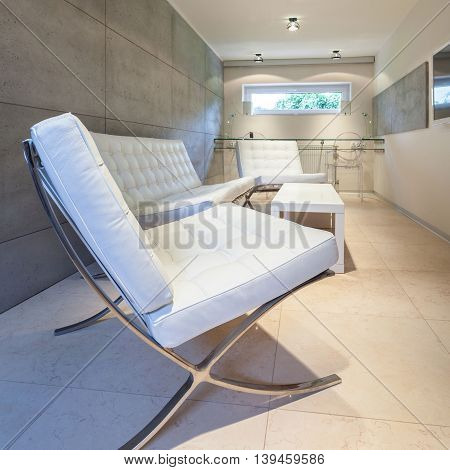 View of modern interior with white furniture