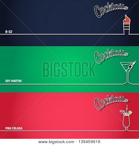 Vector Illustration of Cocktail Icon Outline for Design, Website, Background, Banner. Bar Element for Menu or Infographic Template. B-52, Pina colada, marini,
