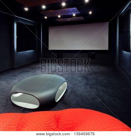 Plasma TV in cinema at modern home