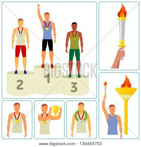 Vector flat icon sport events - athletes medals podium, trophy, wreath, booklets, brochures, promotional materials, banners, web design. Isolated on a white background