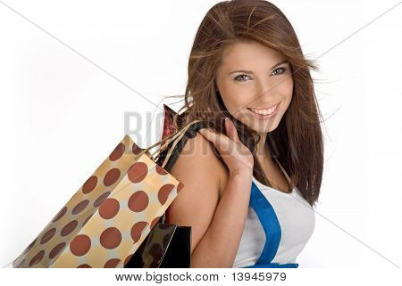 Shopping sexy Girl, isolated on white background