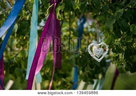 Summer tree in blue and violet blossom with wedding decoration - ribbons and hearts.