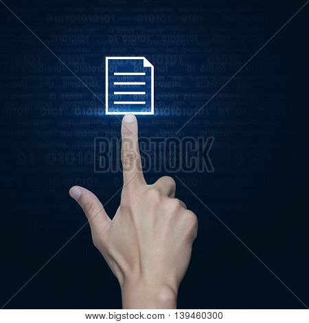 Hand pressing document icon over computer binary code blue background