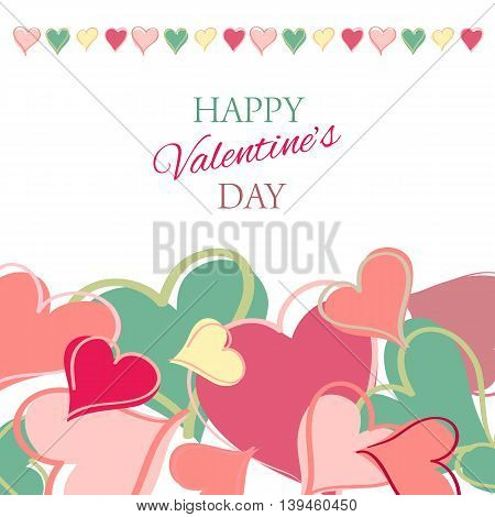 Post card for Valentine s day. Vector illustration.
