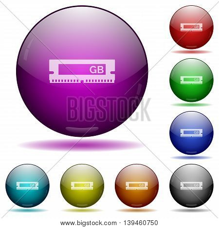 Set of color RAM module glass sphere buttons with shadows.