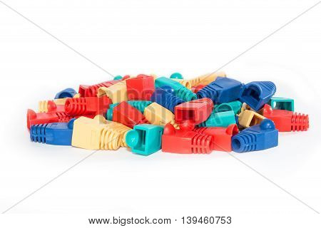 Colorful rubber covers for RJ45 network connectors.