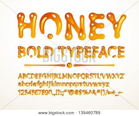 Vector honey bold typeface. Letters A-Z, a-z, numbers and symbols. Eps8. RGB. Global colors