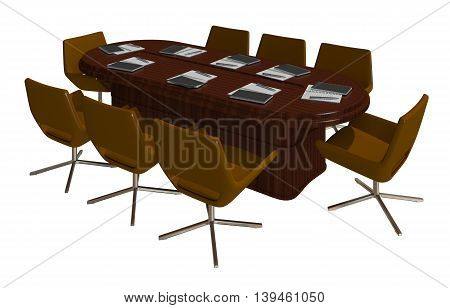 3D Illustration office furniture iolated on white background