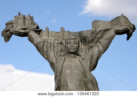 The monument to the builders of the city of Ulan-Ude. Buryatia. Russia