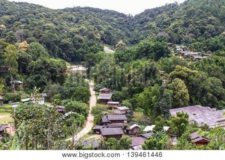 Karen village at mountains, Ban Pha Mon in Doi Inthanon Chiangmai
