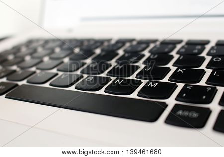 White Office Laptop Keyboard With Black Buttons