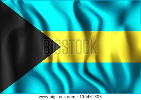 Flag Of Bahamas. Rectangular Shape Icon Wavering