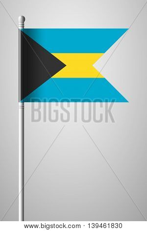 Flag Of Bahamas. National Flag On Flagpole