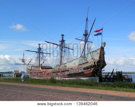 Wooden sailing ship with extensive rigging in Holland