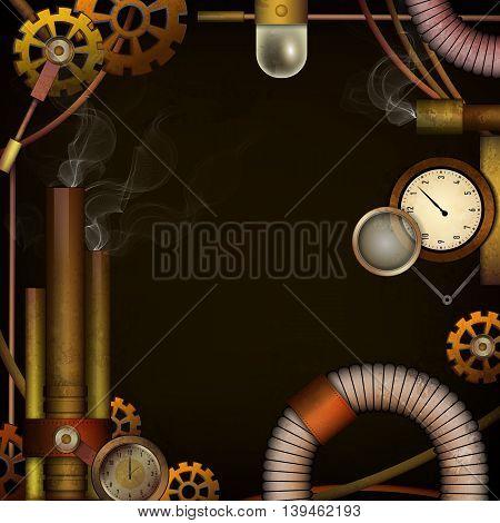 Steam punk grunge background for your design. Vector illustration.