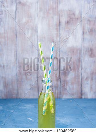 Lemon Sparkling Soft Drink In A Glass Bottle
