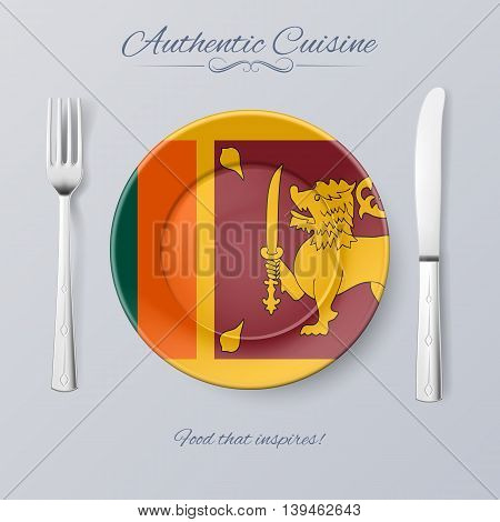 Authentic Cuisine of Sri Lanka. Plate with Flag and Cutlery