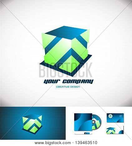 Vector company logo icon element template blue green cube games media corporate 3d
