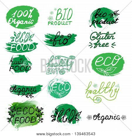 Set of eco organic bio logo, labels. Hand drawn signs. Raw, vegetarian food badges, stamps and stickers. Organic tags and elements for cafe,restaurants, products packaging etc. Vector