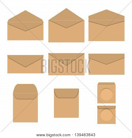Set brown paper envelopes of different form and sizes open and closed the envelope for CD isolated on white background vector illustration.