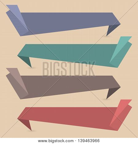Set of four colored paper banners ribbons origami the fourth set vector illustration.