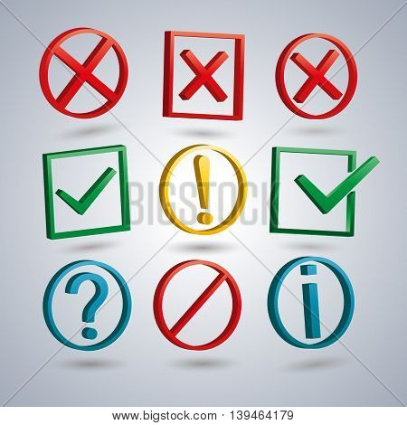 A set of information symbols with the 3D effect symbols help information check delete attention vector illustration.