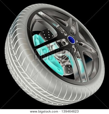 Car wheel isolated on balck background with photo negative effect, 3d illustration
