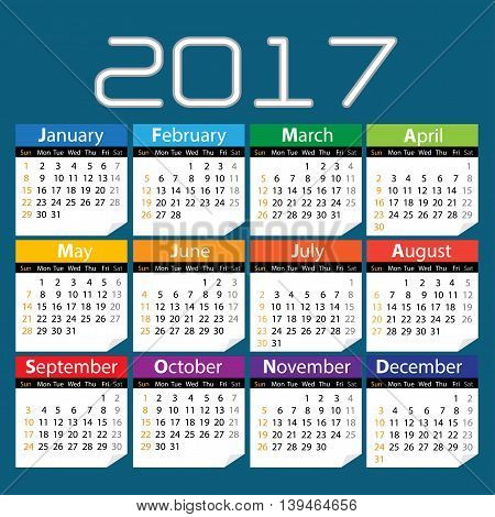 Calendar of 2017 year on blue background design vector illustration.