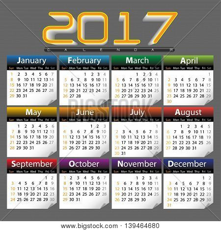 Calendar of 2017 year on gray background vector illustration.