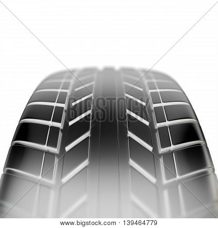 Car tire in close-up view with depth of field effect, 3d illustration
