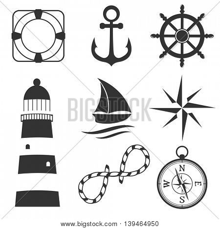 Nautical design elements: lighthouse, anchor, steering wheel, life buoy, the wind rose, compass, ship. Can be used for logo, textile, banner, poster, scrapbooking and other design