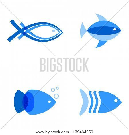 Vector illustration of blue colors fishes. Abstract fish logo set for seafood restaurant, marine company, or fish shop
