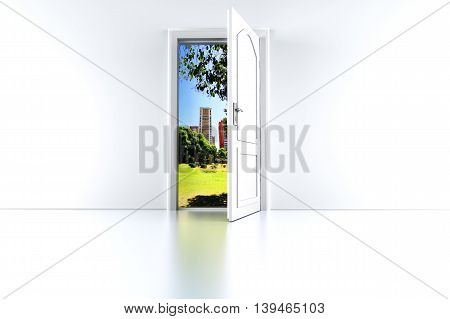 Door to the City. 3D rendered illustration.