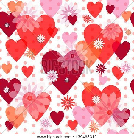 Seamless valentine spotty pattern with translucent hearts