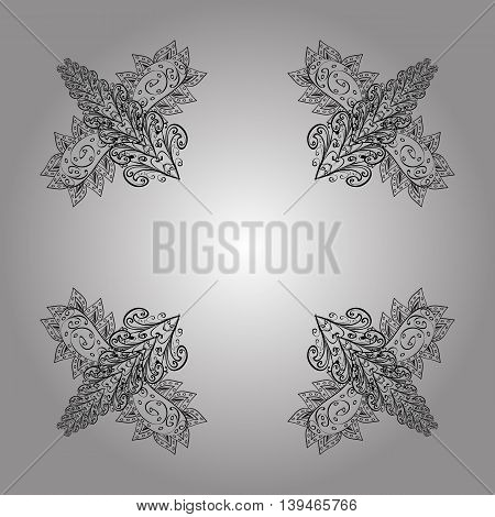 Vector seamless abstract doodles floral pattern with shadows.