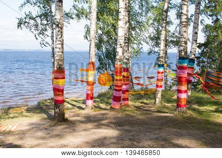 Birch with colored ribbons on the shore of a large lake
