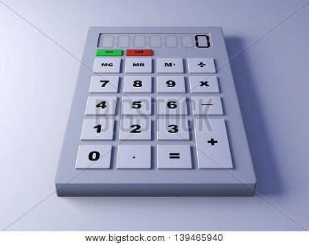 A 3d rendered illustration of a calculator.