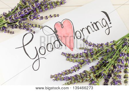 Good Morning Card With Lavender On A Table