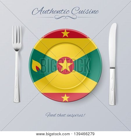 Authentic Cuisine of Grenada. Plate with Grenadian Flag and Cutlery