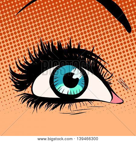 Close-up blue woman eye looking up pop art retro vector illustration