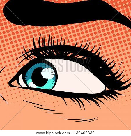 Close-up woman blue eye looking to the left pop art retro vector illustration