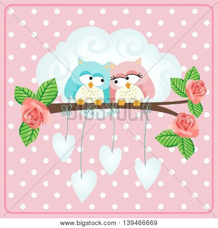 Scalable vectorial image representing a owls couple love greeting card.