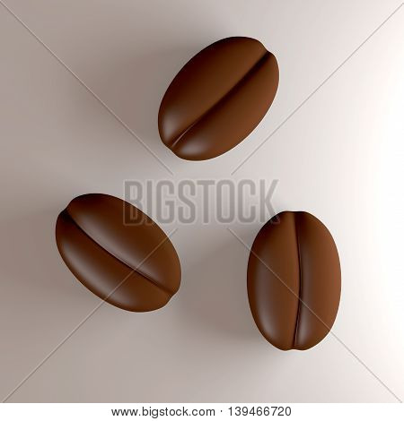 Three Coffee Beans. A 3D rendered Illustration.